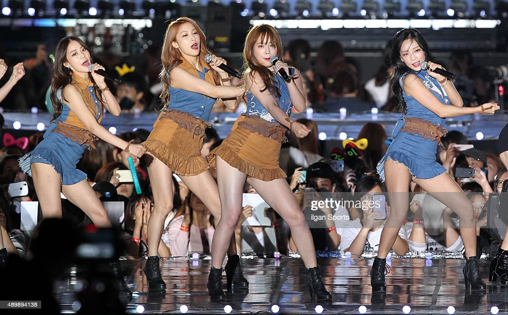 KARA perform onstage during the 2015 Hallyu Dream Festival at Gyeongju Civic Stadium on September 20, 2015 in Gyeongju, South Korea.
