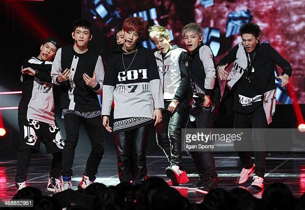 GOT7 perform onstage during the Mnet 'M Count Down' at CJ EM Center on February 6 2014 in Seoul South Korea