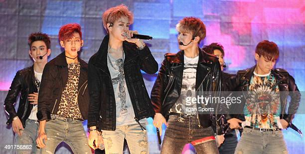 GOT7 perform onstage during their mini album 'Mad' showcase at MStage on September 29 2015 in Seoul South Korea