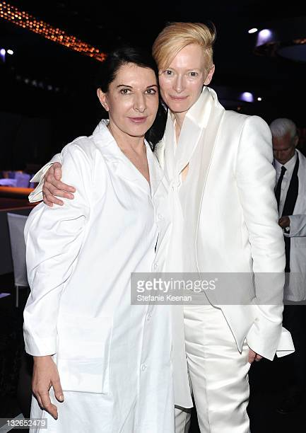 Performance artist Marina Abramovic and actress Tilda Swinton attend 2011 MOCA Gala An Artist's Life Manifesto Directed by Marina Abramovic at MOCA...