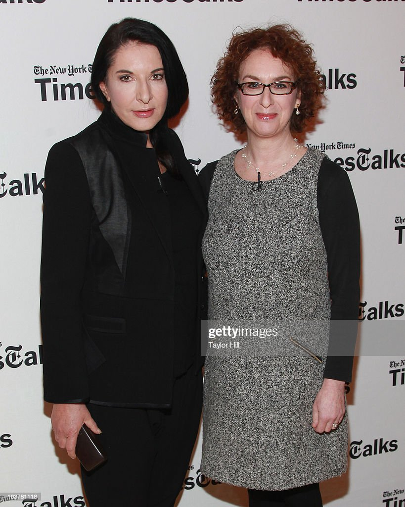 Performance artist <a gi-track='captionPersonalityLinkClicked' href=/galleries/search?phrase=Marina+Abramovic&family=editorial&specificpeople=2315598 ng-click='$event.stopPropagation()'>Marina Abramovic</a> and New York Times culture reporter Patricia Cohen attend their TimesTalk at TheTimesCenter on March 15, 2013 in New York City.