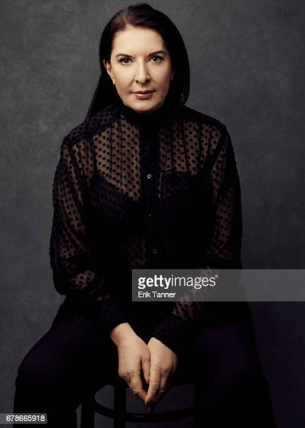 Performance artist Marina Abramovic from 'Blurred Lines Inside The Art World'' poses at the 2017 Tribeca Film Festival portrait studio on on April 23...