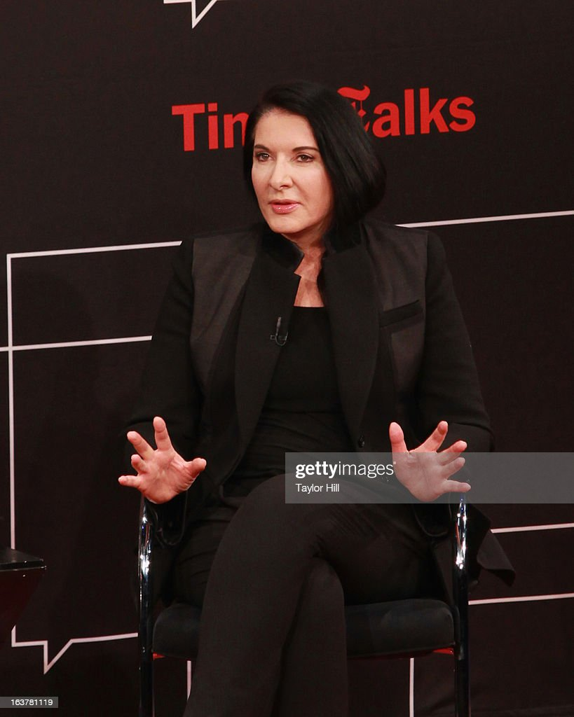 Performance artist Marina Abramovic speaks during her TimesTalk at TheTimesCenter on March 15, 2013 in New York City.