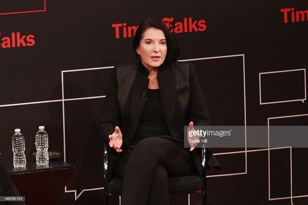 Performance artist <a gi-track='captionPersonalityLinkClicked' href=/galleries/search?phrase=Marina+Abramovic&family=editorial&specificpeople=2315598 ng-click='$event.stopPropagation()'>Marina Abramovic</a> speaks during her TimesTalk at TheTimesCenter on March 15, 2013 in New York City.