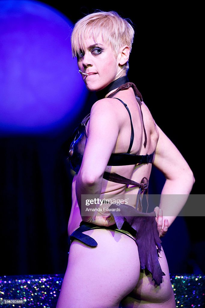 Performance artist Tonya Kay performs onstage at the Heaven And Earth 'Dig' world premiere album release party at The Fonda Theatre on April 10, 2013 in Los Angeles, California.