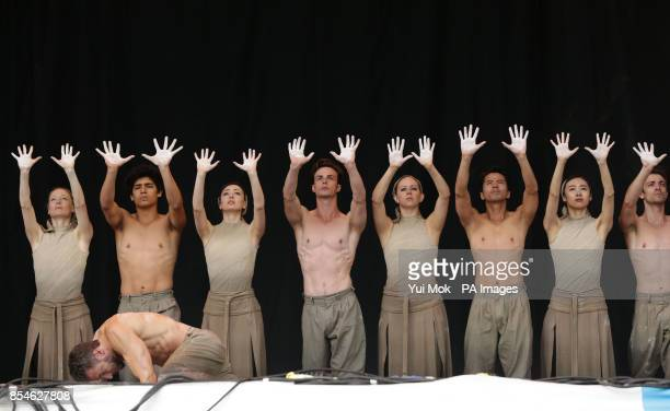 A performance by English National Ballet of 'Lest We Forget' about the First World War on the Pyramid Stage at the Glastonbury Festival at Worthy...