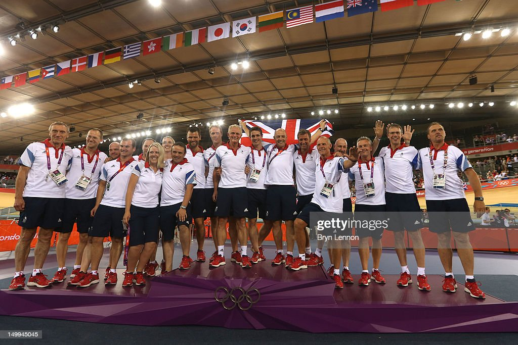 Performance Director Dave Brailsford (C) poses with British Cycling coaching staff on Day 11 of the London 2012 Olympic Games at Velodrome on August 7, 2012 in London, England.
