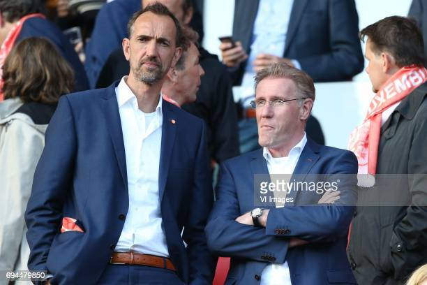 Performance Innovation Manager Peter Blange of KNVB technical director Hans van Breukelen of KNVBduring the FIFA World Cup 2018 qualifying match...