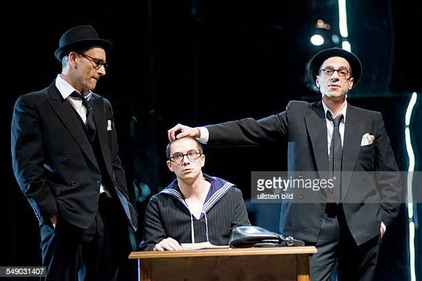 Performance of Daniel Kehlmann's play 'Geister in Princeton' in the Renaissance Theater Berlin scene with Heikko Deutschmann Benno Lehmann and...