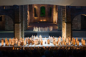 Performance of Opera 'Nabucco' in Stiftsruine open air theatre.