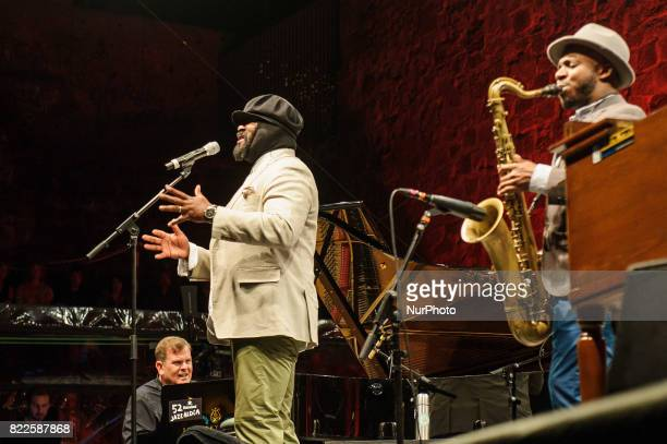 Performance of the jazz singer composer and actor Gregory Porter on the stage of the Trinidad Square during 52nd edition of Heineken Jazzaldia on...