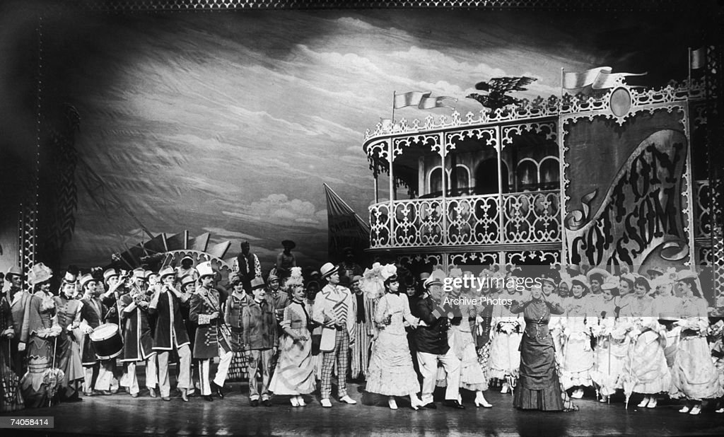 A performance of the musical 'Show Boat' at the Ziegfeld Theatre New York 1946 On stage are Ralph Dumke as Cap'n Andy Ethel Owen Francis X Mahoney...