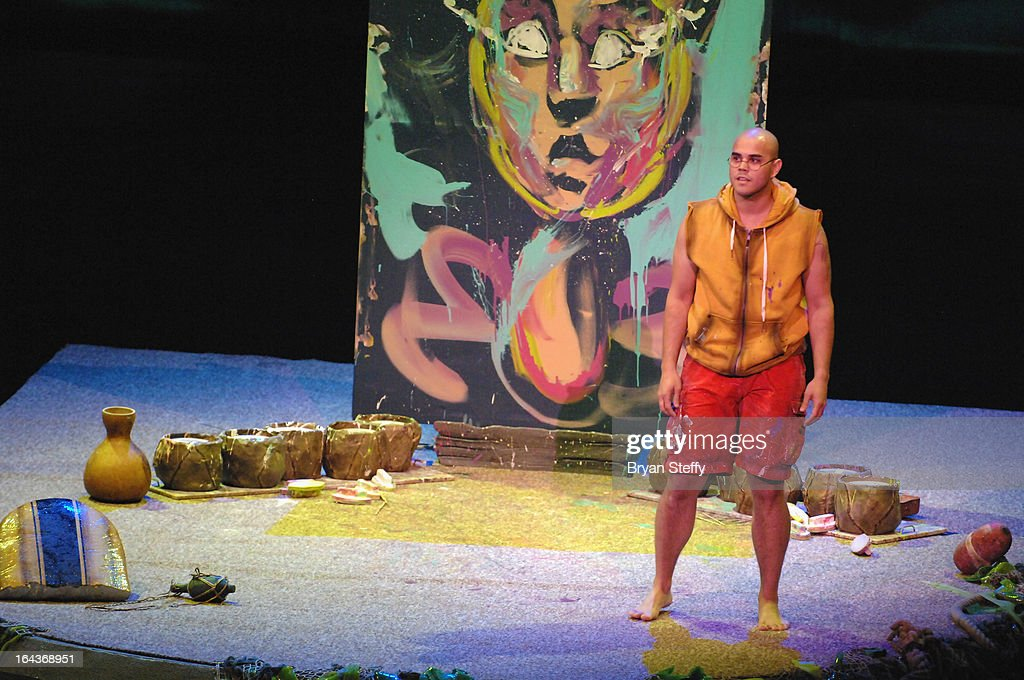 Performance painter David Garbaldi rehearses for Cirque du Soleil's 'One Night for ONE DROP' show at the Bellagio on March 22, 2013 in Las Vegas, Nevada.