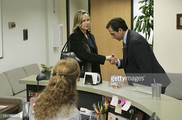 THE OFFICE 'Performance Review' Episode 8 Aired Pictured Jenna Fischer as Pam Beesly Melora Hardin as Jan Levinson and Steve Carell as Michael Scott...