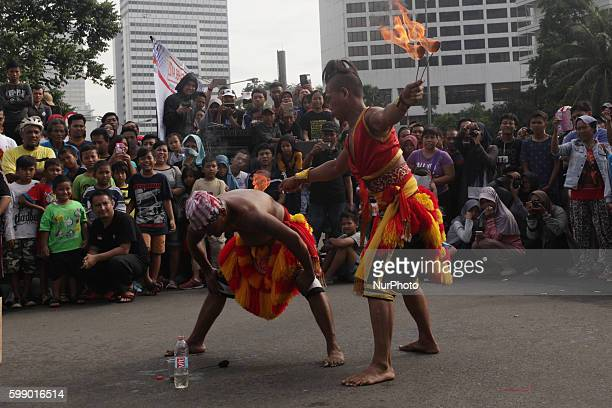 Performances Reog Ponorogo during car free day in Jakarta on Sunday March 20 2016