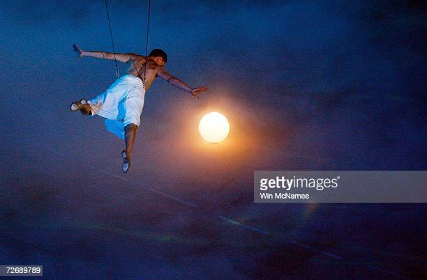 A performer acts as an ancient pearl diver during a rehearsal at Khalifa Stadium for the Opening Ceremony of the 15th Asian Games November 29 2006 in...
