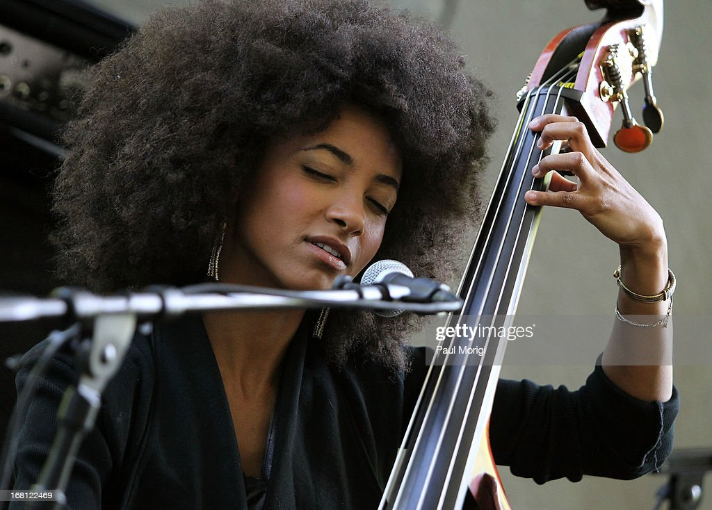 Performer and 3-time GRAMMY Award winner <a gi-track='captionPersonalityLinkClicked' href=/galleries/search?phrase=Esperanza+Spalding&family=editorial&specificpeople=4151466 ng-click='$event.stopPropagation()'>Esperanza Spalding</a> performs at the GRAMMY Foundation - Debra Lee house concert with <a gi-track='captionPersonalityLinkClicked' href=/galleries/search?phrase=Esperanza+Spalding&family=editorial&specificpeople=4151466 ng-click='$event.stopPropagation()'>Esperanza Spalding</a> at Private Residence on May 5, 2013 in Washington, DC.