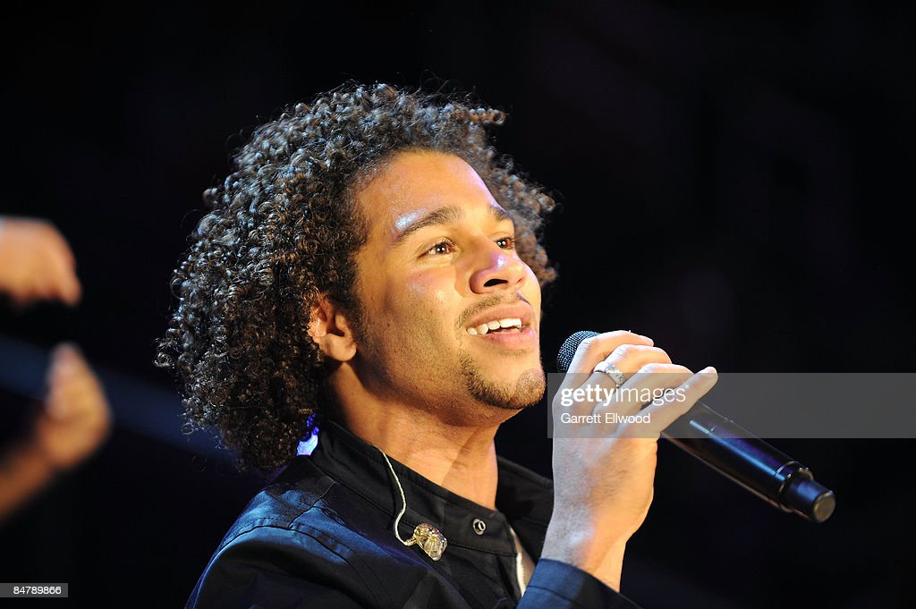 Performer Corbin Bleu sings during halftime of the TMobile Rookie Challenge Youth Jam part of 2009 NBA AllStar Weekend at US Airways Center on...