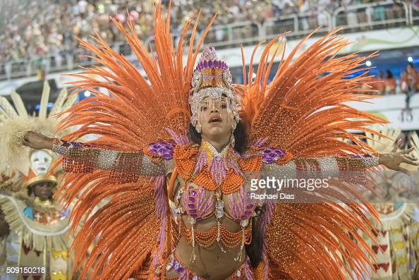 A performer dances during Mangueira performance at the Rio Carnival in Sambodromo on February 8 2016 in Rio de Janeiro Brazil Despite the Zika virus...
