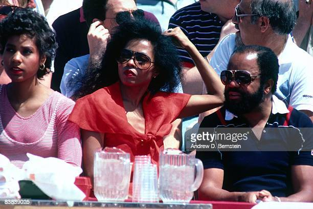 Performer Diana Ross enjoys the action during the Elton John Tennis Benefit on September 22 1993 at the Forum in Los Angeles California