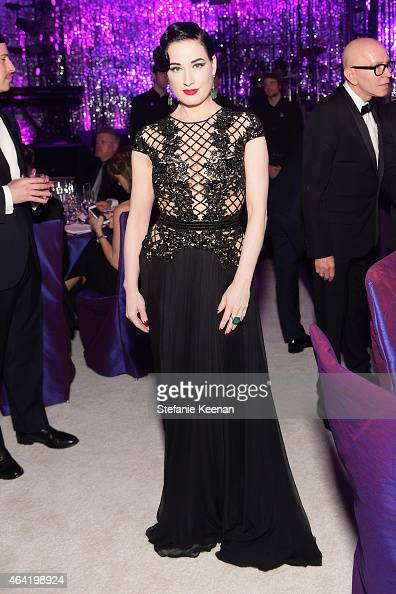 Performer Dita Von Teese attends the 23rd Annual Elton John AIDS Foundation Academy Awards viewing party with Chopard on February 22 2015 in Los...