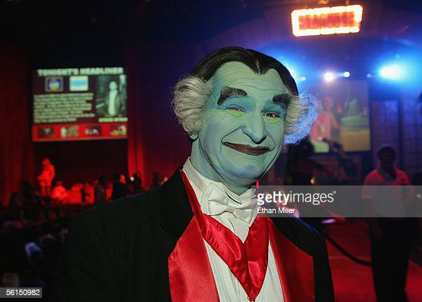 A performer dressed as Al Lewis' 'Grandpa' character from 'The Munsters' television series appears at the 'Beacher's Madhouse' show at the Joint...