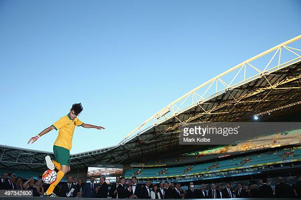 A performer entertains guests during the 10th Anniversary Gala Event of 2006 FIFA World Cup Qualification Match Between Australia Uruguay at ANZ...