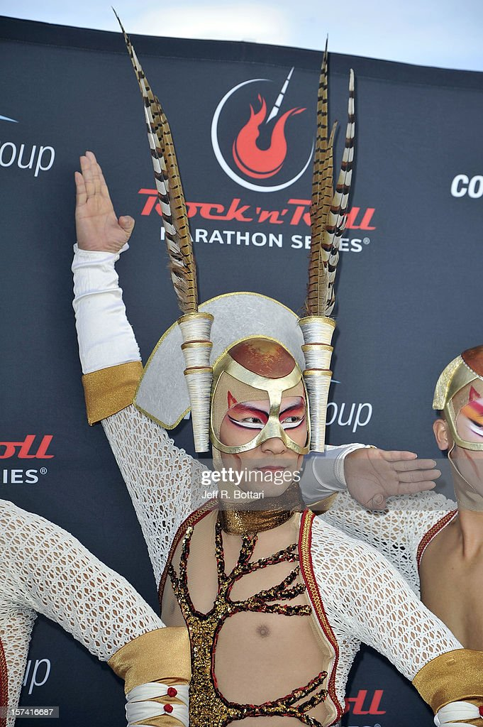 A performer from ' Zarkana by Cirque du Soleil' arrives at the Zappos.com Rock 'n' Roll Las Vegas Marathon and Half-Marathon on December 2, 2012 in Las Vegas, Nevada.