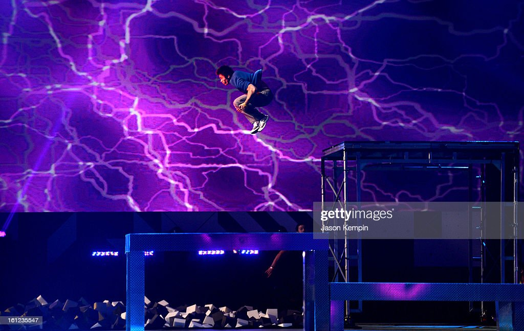 A performer gets airborne onstage at the Third Annual Hall of Game Awards hosted by Cartoon Network at Barker Hangar on February 9, 2013 in Santa Monica, California. 23270_003_JK_0437.JPG