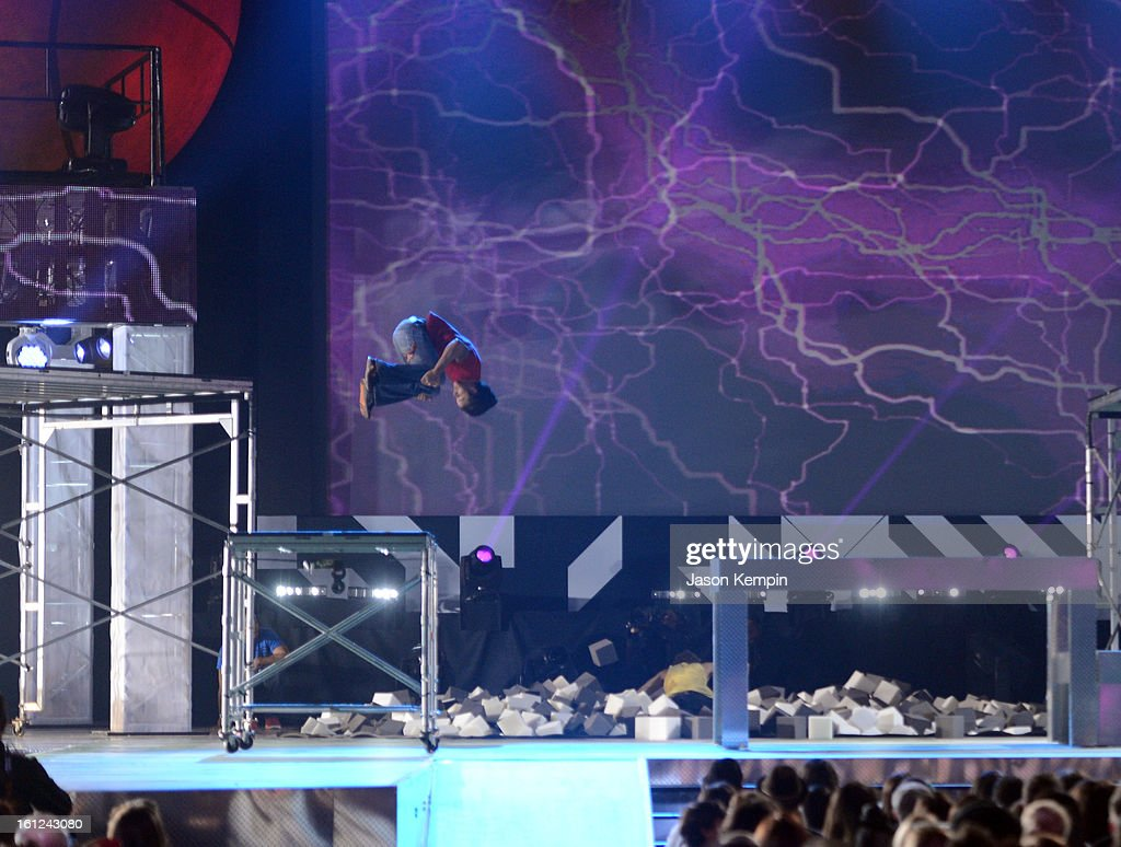 A performer gets airborne onstage during the Third Annual Hall of Game Awards hosted by Cartoon Network at Barker Hangar on February 9, 2013 in Santa Monica, California. 23270_003_JK_0449.JPG