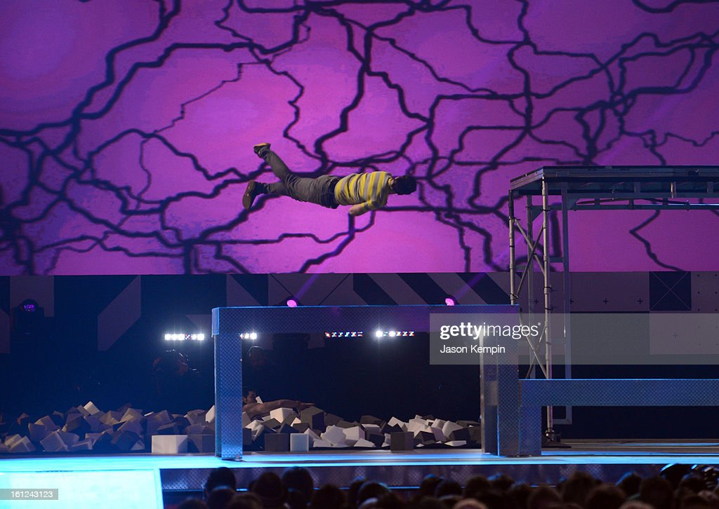 A performer gets airborne onstage during the Third Annual Hall of Game Awards hosted by Cartoon Network at Barker Hangar on February 9, 2013 in Santa Monica, California. 23270_003_JK_0440.JPG