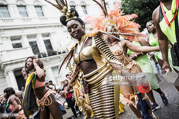 A performer in costume at the Notting Hill Carnival on August 31 2015 in London England