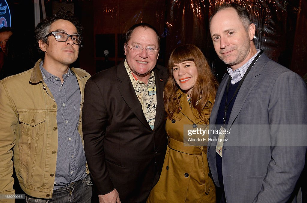 Performer Matt Ward, executive director <a gi-track='captionPersonalityLinkClicked' href=/galleries/search?phrase=John+Lasseter&family=editorial&specificpeople=224003 ng-click='$event.stopPropagation()'>John Lasseter</a>, writer/performer <a gi-track='captionPersonalityLinkClicked' href=/galleries/search?phrase=Jenny+Lewis&family=editorial&specificpeople=216530 ng-click='$event.stopPropagation()'>Jenny Lewis</a> and senior vice president of music Tom MacDougall attend the 90 Years of Disney Animation celebration at Walt Disney Studios on December 10, 2013 in Burbank, California.
