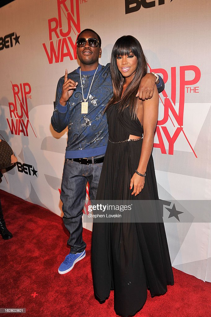 Performer Meek Mill and host Kelly Rowland attend BET's Rip The Runway 2013:Red Carpet at Hammerstein Ballroom on February 27, 2013 in New York City.