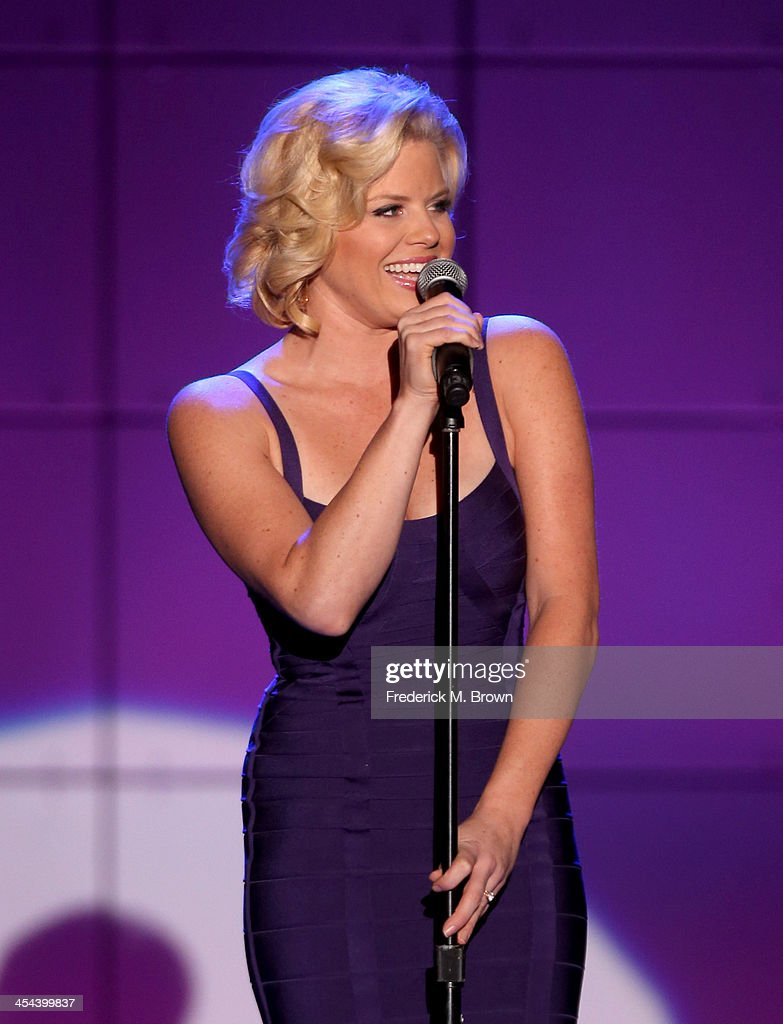 Performer <a gi-track='captionPersonalityLinkClicked' href=/galleries/search?phrase=Megan+Hilty&family=editorial&specificpeople=602492 ng-click='$event.stopPropagation()'>Megan Hilty</a> performs onstage at 'TrevorLIVE LA' honoring Jane Lynch and Toyota for the Trevor Project at Hollywood Palladium on December 8, 2013 in Hollywood, California.