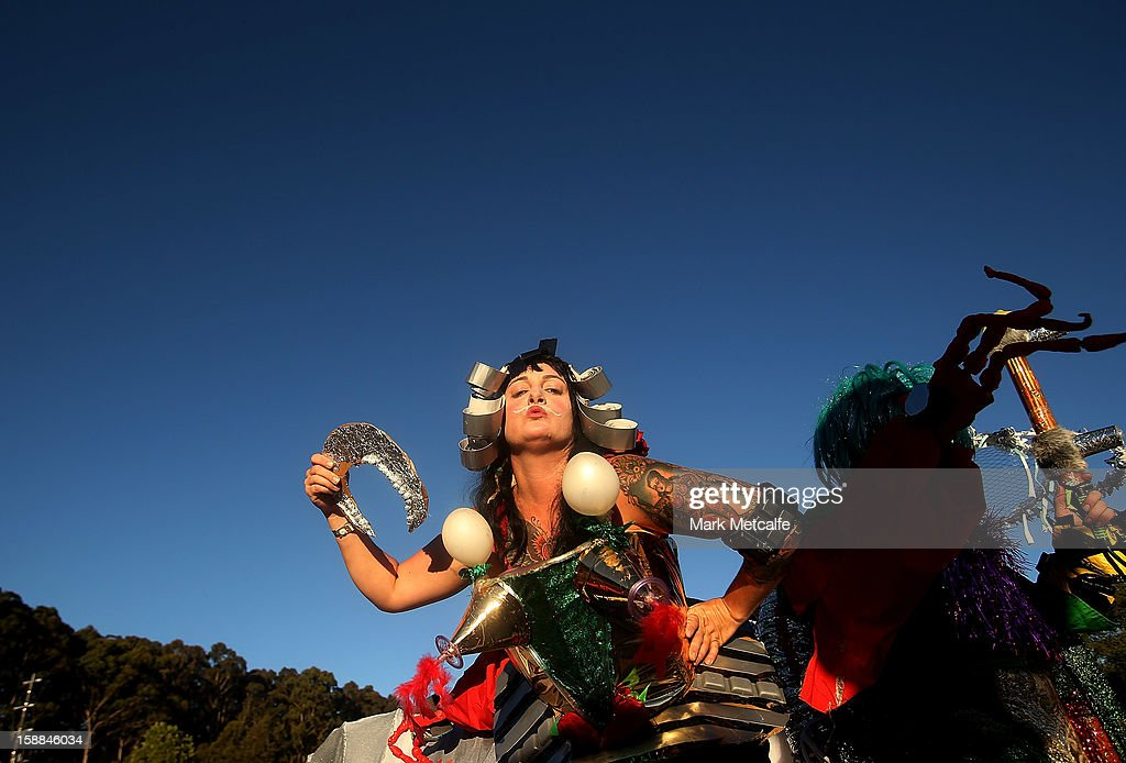 A performer poses during Fiesta at The Falls Music and Arts Festival on December 31, 2012 in Lorne, Australia.