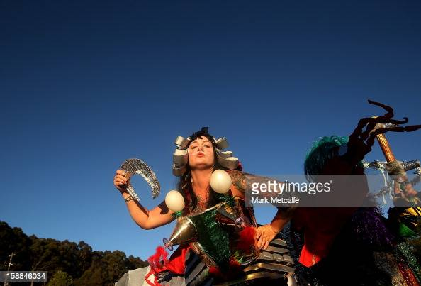 A performer poses during Fiesta at The Falls Music and Arts Festival on December 31 2012 in Lorne Australia