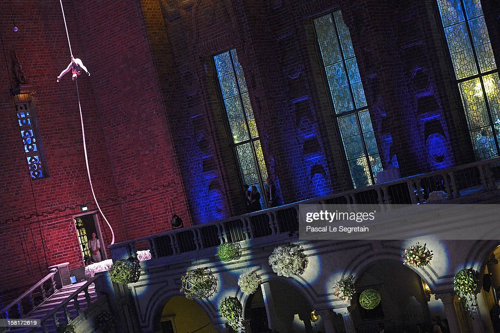 A performer presents a show during the Nobel Banquet at Town Hall on December 10, 2012 in Stockholm, Sweden.