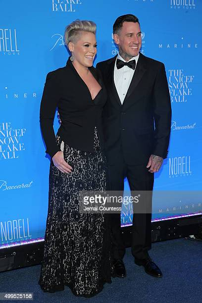 Performer recording artist Pnk and Carey Hart attend the 11th Annual UNICEF Snowflake Ball Honoring Orlando Bloom Mindy Grossman And Edward G Lloyd...