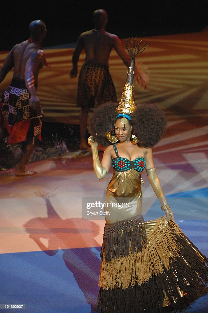 A performer rehearses for Cirque du Soleil's 'One Night for ONE DROP' show at the Bellagio on March 22, 2013 in Las Vegas, Nevada.