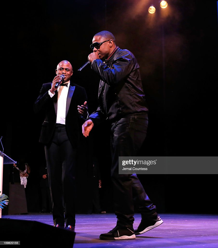 Performer Wayne Brady and rapper Doug E. Fresh perform at The Hip-Hop Inaugural Ball II at Harman Center for the Arts on January 20, 2013 in Washington, DC.