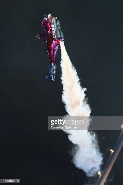 A performer with a jetpack takes part in the Opening Ceremony of the London 2012 Olympic Games at the Olympic Stadium on July 27 2012 in London...