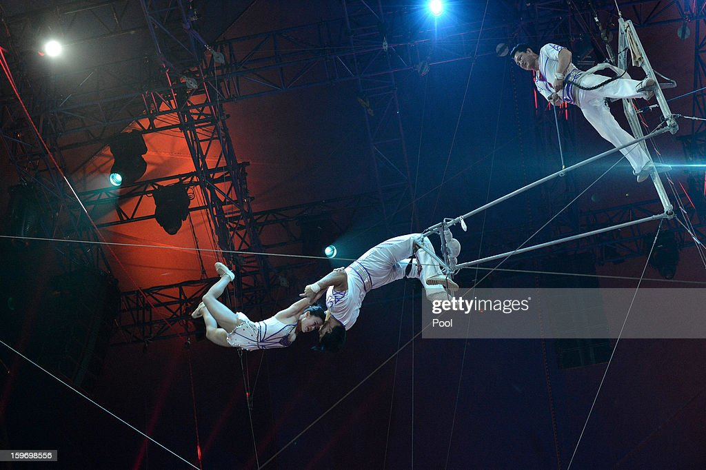 Performers act on stage during day two of the Monte-Carlo 37th International Circus Festival on January 18, 2013 in Monte-Carlo, Monaco.