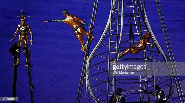Performers act out Arabic contributions to science during a rehearsal at Khalifa Stadium for the Opening Ceremony of the 15th Asian Games November 29...