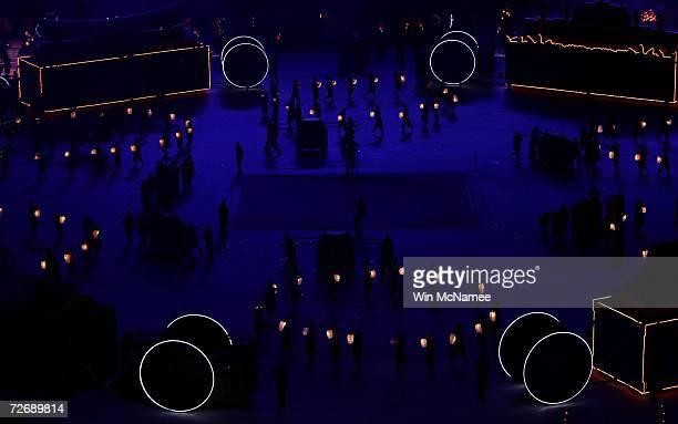 Performers act out Asian fables during a rehearsal at Khalifa Stadium for the Opening Ceremony of the 15th Asian Games November 29 2006 in Doha More...