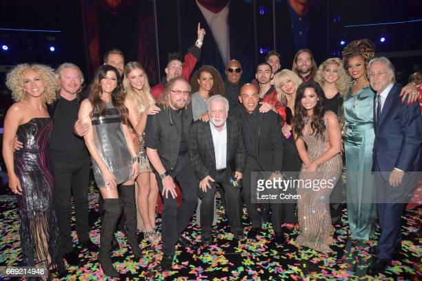 Performers and producers pose for a photo during 'Stayin' Alive A GRAMMY Salute To The Music Of The Bee Gees' on February 14 2017 in Los Angeles...