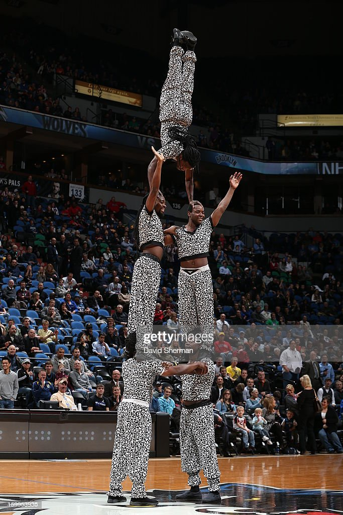 Performers are seen during the game between the Minnesota Timberwolves and the Brooklyn Nets on January 23, 2013 at Target Center in Minneapolis, Minnesota.