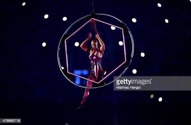 Performers are suspended above the stadium during the Closing Ceremony for the Baku 2015 European Games at National Stadium on June 28 2015 in Baku...