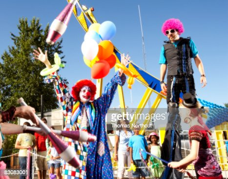 performers at an amusement park : Stock Photo