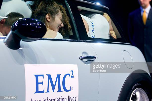 Performers attempt fit more than twenty people in a Mini Cooper in order to break the Guinness World record at a media event in New York US on...